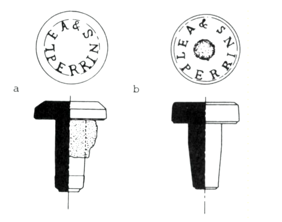 IMAGE 3 – Two styles of Lea & Perrins' glass stoppers have been located in archaeological contexts at Fort Walsh, Saskatchewan, Canada (reproduced from Lunn 1981:4). The stopper located in Curtis Park is most similar to the style depicted on the right.