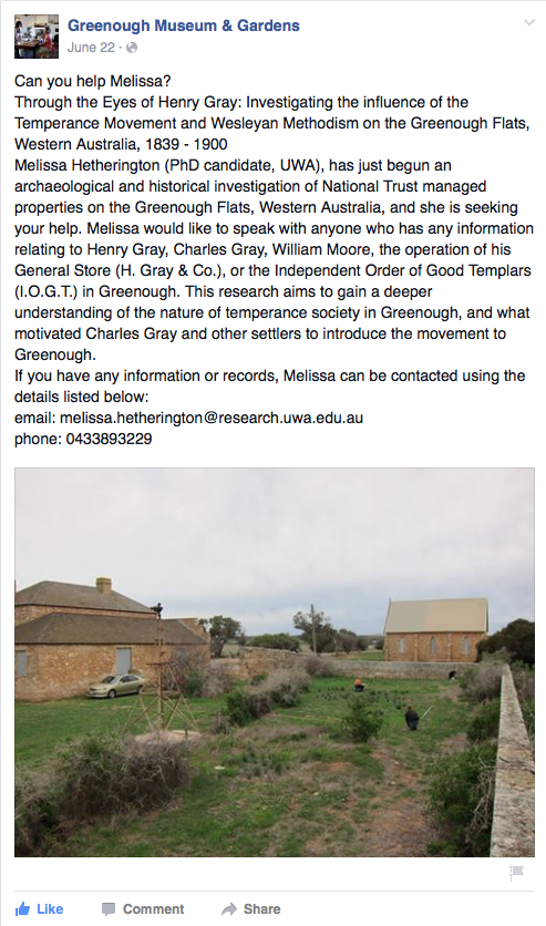 Advertising the project on the Greenough Museum and Gardens Facebook page.