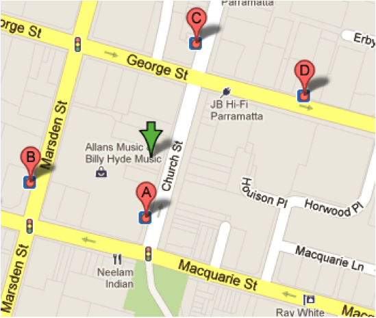 Map showing bus stops near UNE Parramatta Campus